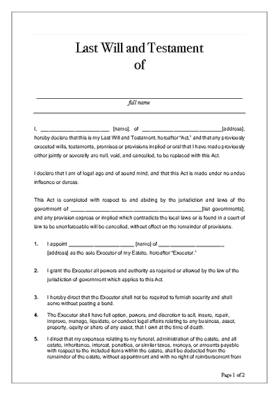 Last Will And Testament Pdf Template Kdanmobile